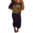 Women's Funny Letter BLACK BY POPULAR DEMAND Print Round Neck Short Sleeve Midi T-Shirt Black Dress