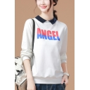ANGEL Letter Lapel Long Sleeve Pullover White Sweatshirt