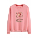 Hot Sale Letter Cartoon Comic Reindeer Printed Cotton Round Neck Long Sleeve Sweatshirt