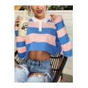 Girls New Trendy Blue and Pink Striped Printed Lapel Collar Cropped Casual Sweatshirt