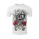 Rose Gun Skull Printed Round Neck Short Sleeve White Tee for Men