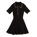 Girls Summer Vintage Short Sleeve Lapel Collar Button Front A-Line Pleated Polo Dress