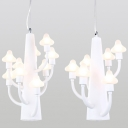 Nursing Room Mushroom Chandelier Metal 6/9 Lights Simple Style White Pendant Light