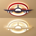 Cool Airplane LED Ceiling Mount Light Metal Colorful/White Flush Light in Warm/White for Boy Bedroom