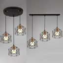 Metal Wire Frame Hanging Light Kitchen 3 Lights Antique Linear/Round Ceiling Lamp in Black