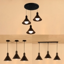 Metal Conical Shade Pendant Light 3 Lights Antique Style Hanging Lamp in Black for Bar Cafe