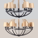 Fabric Tapered Shade Chandelier 6/8 Lights Rustic Style Hanging Light in Beige for Restaurant