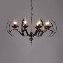 8 Lights Fake Candle Chandelier Rustic Style Metal Hanging Light for Dining Room KTV