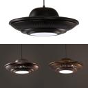 Metal UFO Pendant Light 1 Light Antique Hanging Lamp in Black/Bronze/Gold for Factory