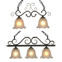 American Rustic Petal Island Light 2/3 Lights Frosted Glass Pendant Light in Black for Balcony