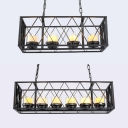 Antique Style Flameless Candle Hanging Light 4/6 Lights Metal Cage Island Fixture in Black for Cafe