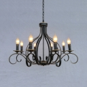 Antique Style Black Ceiling Pendant Candle Shape 8 Lights Metal Hanging Light for Dining Room