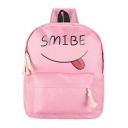 Lovely Cartoon Letter Printed Canvas School Bookbag Backpack 28*10*34 CM