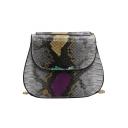 Trendy Snakeskin Pattern Chain Strap Crossbody Saddle Bag 20*7.5*17.5 CM
