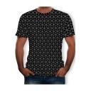 New Fashion Allover Diamond Printed Round Neck Short Sleeve Black T-Shirt