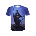 Funny Cute Witch Cat 3D Printed Round Neck Short Sleeve Blue T-Shirt