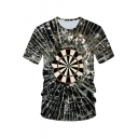 Mens New Stylish Cool 3D Dart Board Printed Short Sleeve Round Neck Tee