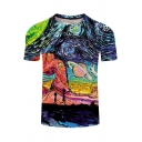 Fashion Comic Anime Figure Oil Painting 3D Printed Round Neck Short Sleeve Tee
