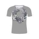 Funny Unique Frog Printed Basic Round Neck Short Sleeve Grey T-Shirt