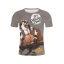 Cool Letter IT'S VEGAN TIME Comic Character 3D Printed Short Sleeve T-Shirt