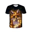Cute Cartoon Light Cat Pattern Basic Round Neck Short Sleeve Black T-Shirt