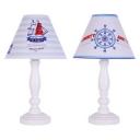 Nautical Style White Reading Light Rudder/Ship 1 Light Wood LED Desk Lamp for Bedroom