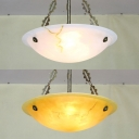 Glass Bowl Shade Inverted Hanging Light Hotel 3 Lights Antique Style Ceiling Pendant in White/Yellow