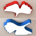 Cartoon Leaf Shape Ceiling Lamp Acrylic Blue/Red Flush Mount Light for Boys Girls Bedroom