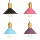 1 Light Conical Shade Hanging Light Nordic Style Metal Macaron Colored Pendant Lamp for Kitchen