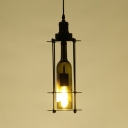 Edison Bulb Wine Bottle Pendant Light One Light Industrial Hanging Light in Black for Bar