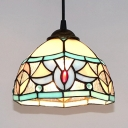 Tiffany Style Bowl Shade Pendant Light Stained Glass 1 Light Ceiling Lamp for Study Room