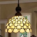 Glass Scalloped Pendant Light with Beads Hallway 1 Light Tiffany Style Ceiling Light in Beige