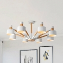 Modern Gray/Green/White Chandelier Drum Shade 8 Lights Metal Hanging Lamp for Child Bedroom