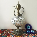Moroccan Turkish Flagon Table Light Stained Glass Single Light Table Lamp for Living Room