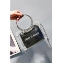 New Trendy Letter LOVE IS BINLD Printed Metal Ring Handle Transparent Satchel Tote Bag 17*7*12 CM