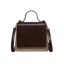 Stylish Color Block PU Leather Crossbody Satchel Bag 20.5*8*18 CM