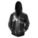 New Popular Black 3D Pattern Comic Cosplay Costume Long Sleeve Zip Up Hoodie