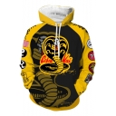 Cool Stylish Snake Logo Letter NO MERCY Pattern Long Sleeve Yellow Drawstring Hoodie