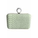 New Trendy Crocodile Pattern Rhinestone Ring Embellishment Light Green Crossbody Clutch 13*8.5 CM