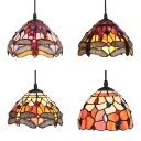 Tiffany Style Dome Pendant Light 1 Light 8 Inch Stained Glass Hanging Lamp for Living Room