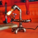 Restaurant Water Pipe Desk Light Edison Bulb 1 Light Retro Loft Bronze Table Lamp