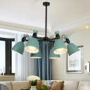 6 Lights Rotatable Chandelier with Black/White Rod Nordic Style Metal Hanging Lamp in Green for Kid Bedroom