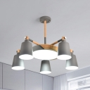 Bucket Drum Hotel Hanging Light Metal 6 Lights Simple Style Chandelier in Gray