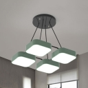 Candy Colored Square Pendant Light 4/6/9 Lights Nordic Style Acrylic Chandelier for Study Room