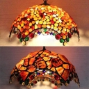 2 Lights Umbrella Pendant Light Tiffany Antique Multi-Color Agate Suspension Light for Foyer