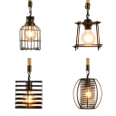 Black Wire Frame Suspension Light One Light Industrial Metal Hanging Light for Dining Room