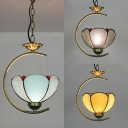 Blue/Clear/Yellow Glass Pendant Light Stair 1 Light Vintage Style Bowl Shade Hanging Light