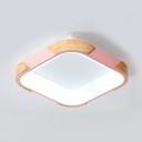 Metal Square LED Flush Mount Light Child Bedroom Modern Gray/Pink/White Ceiling Light