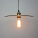 Metal Dish Pendant Light with Bare Bulb Corridor One Light Retro Loft Hanging Lamp in Black
