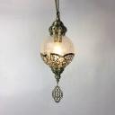 Cracked Glass Globe Pendant Light 1 Light Antique Style Suspension Light in Brass for Front Door
